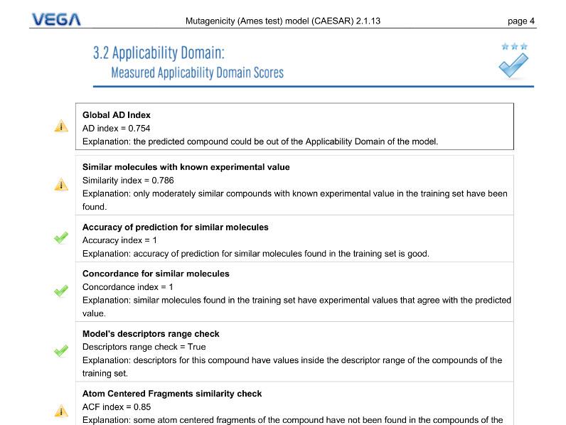 VEGA QSAR screenshot ApplicabilityDomain