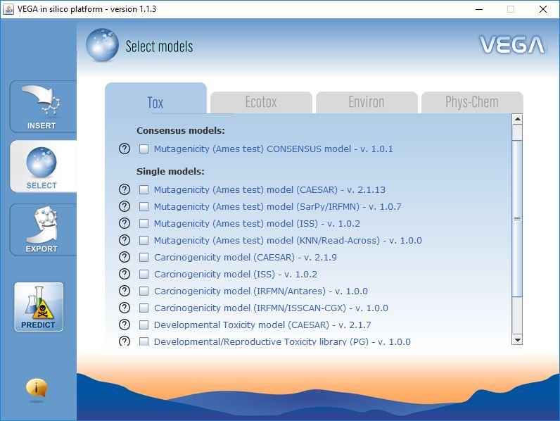 VEGA QSAR screenshot ModelSelection