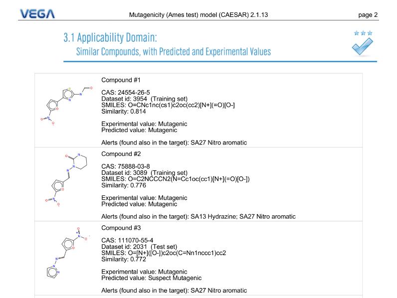 VEGA QSAR screenshot SimilarMolecules