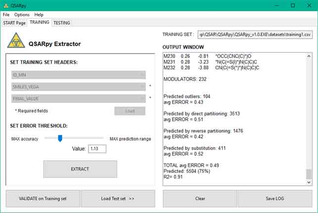 QSARpy software preview training page