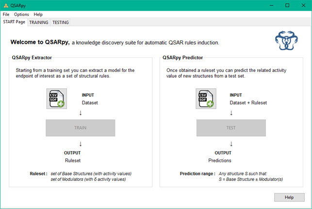 QSARpy software preview start page
