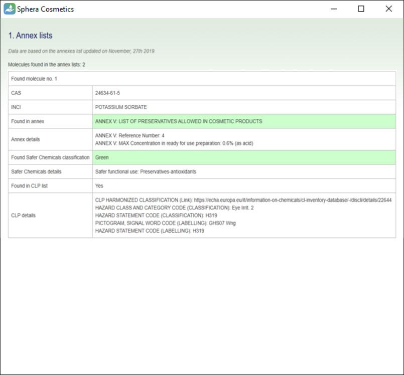 SpheraCosmetics Annex lists