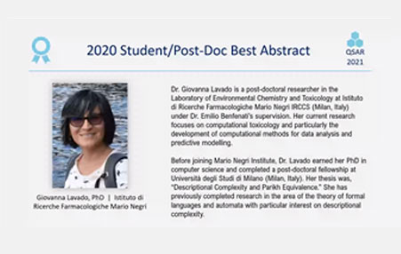 Giovanna Lavado received a prize for the Student/Post doc Best Abstract for the year 2020 of the QSAR 2020 conference