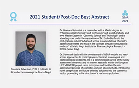 Gianluca Selvestrel received a prize for the Student/Post doc Best Abstract for the QSAR 2021 conference
